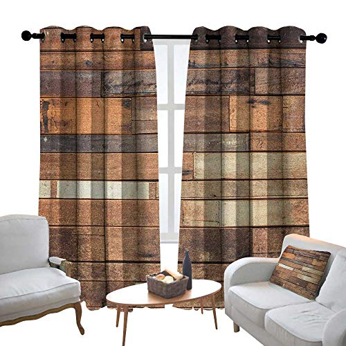 Lewis Coleridge Curtains for Bedroom Wooden,Rustic Floor Planks Print Grungy Look Farm House Country Style Walnut Oak Grain Image, Brown Curtain Panels for Bedroom & Kitchen,1 Pair 120