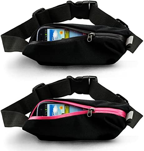 Reflective Fitness Gear Fanny Pack Bum Bag for Sports Gym Fits iPhone or Mobile Phone kwmobile LED Running Waist Belt Jogging Walking Cycling