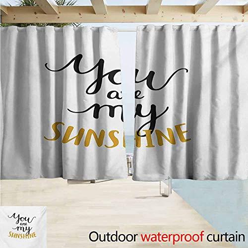 (Quote Outdoor Door Curtain Big Font Classical Romantic Partners Phrase Soul Mates Theme Calligraphy Image Waterproof Patio Door Panel W72 xL63 Mustard Black)