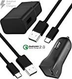 Samsung Galaxy S9 / Note 8 / S8 Plus / Galaxy S8 Adaptive Fast Charger Type-C 2.0 Cable Kit by Ixir - {Wall Charger+ Car Charger+2 Type-C Cables} Adaptive Fast Charging up to 50% faster charging!