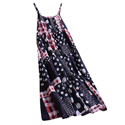 WEISUN Dress for Women Plus Size Vintage Dot Print O Neck Sleeveless Dress Summer Casual Maxi Dress Blue