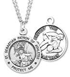 Boy's Sterling Silver Round Saint Sebastian Wrestling Necklace with Endless 24'' Chain