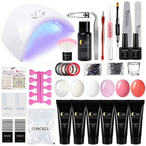 Coscelia Nail Builder Gel Kit with 36W UV/LED Nail Dryer 6 Colors Poly Nail Gel Soak Off Top coat and Base coat Manicure Tool Nail Art Kit