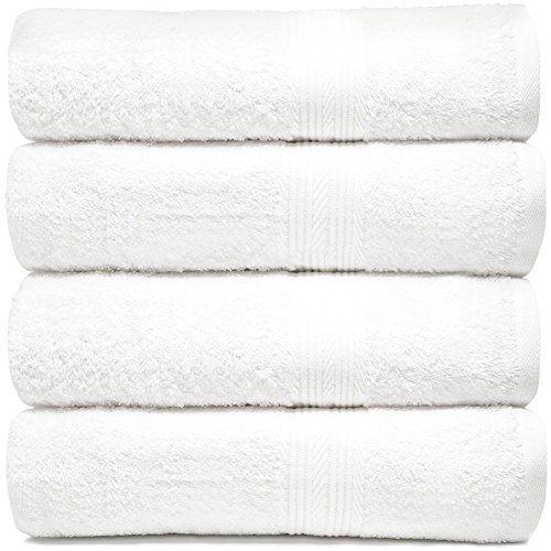 Zeppoli 4-Pack Bath Towels Set  100% Cotton White Towels - M