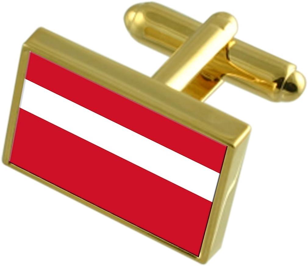Vaduz City Liechtenstein Gold-tone Flag Cufflinks