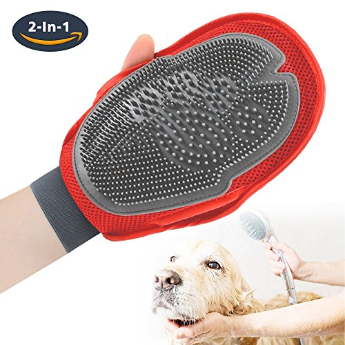 S-LINKEY Pet Grooming Glove Pet Deshedding Brush For Cat, Dog & Horses, Pet Hair Removal Gloves 3 in 1 Hair Remover Mitt,Massage and Bathing Glove Fit Left and Right Hand