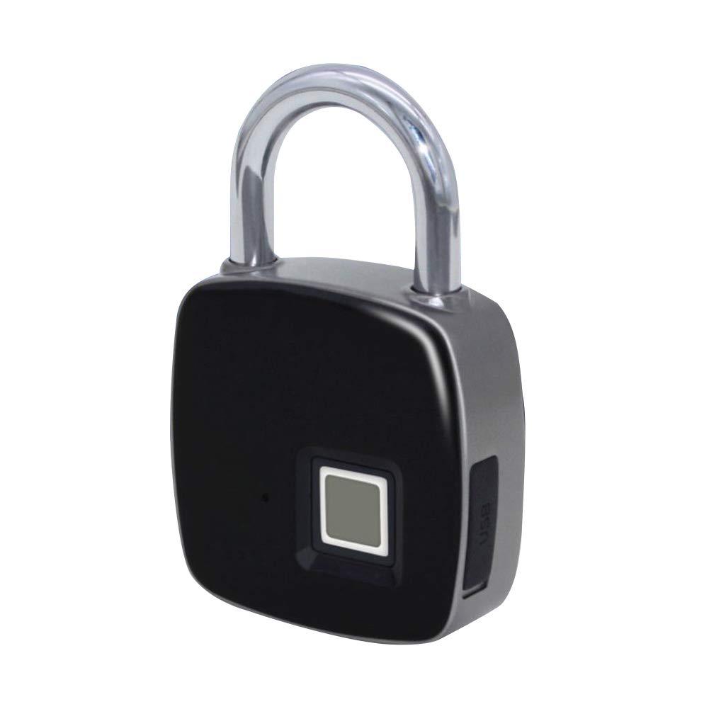 Fingerprint Smart Padlock, Waterproof Anti-Theft Padlock Door Luggage Case Keyless Lock Support USB Charge & QR Code for Android iOS System(Black)