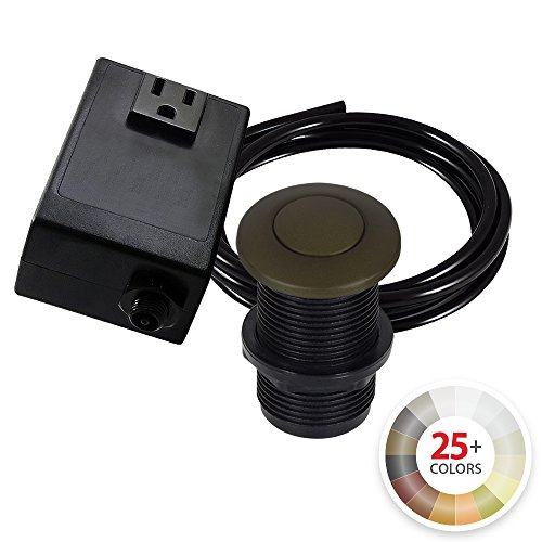 (Single Outlet Garbage Disposal Turn On/Off Sink Top Air Switch Kit in Tuscan Brass. Compatible with any Garbage Disposal Unit and Available in 25+ Finishes by NORTHSTAR DÉCOR. Model # AS010-TB)