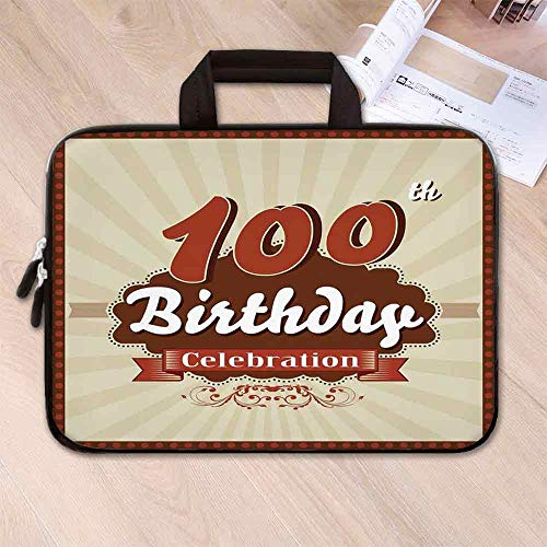100th Birthday Decorations Lightweight Neoprene Laptop Bag,Chocolate Wrap Like Brown Party Invitation Hundred Years for Laptop Tablet PC,15.4''L x 11''W x 0.8''H