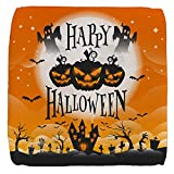 13 Inch 6-Sided Cube Ottoman Happy Halloween Ghosts Pumpkins
