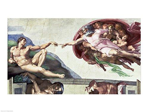 Great Art Now Sistine Chapel Ceiling (1508-12): The Creation of Adam, 1511-12 by Michelangelo Buonarroti Art Print, 24 x 18 inches (Chapel Adam Sistine)