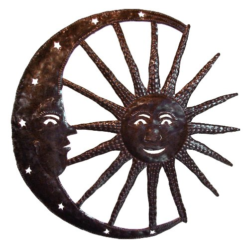 Le Primitif Galleries Haitian Recycled Steel Oil Drum Outdoor Decor, 23 by 23-Inch, Sun Moon Combo
