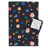 Roostery Planets Solar System Science Planet Cosmic Voyage Stars Milky Way Tea Towels Planets Solar System Planets by Andrea Lauren Set of 2 Linen Cotton Tea Towels