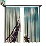 Marina Lea Outdoor Blackout Curtains, Two Animals Mother and Baby Friendship and Love Illustration Clouds and Moon, Outdoor Privacy Porch Curtains (W84 x L108 Inches Teal Brown Cream)