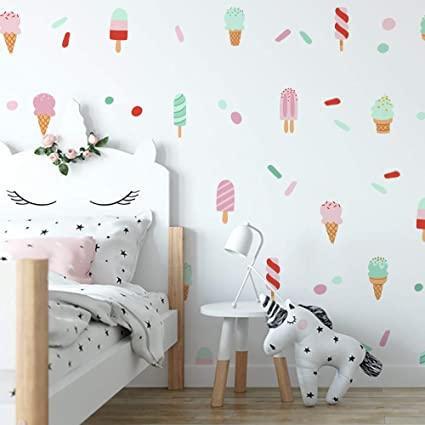 Amazon com: Label Daddy Ice Cream Delight Wall Decal Set