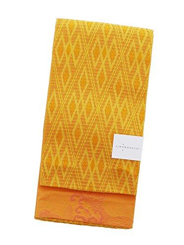 経済的メトリック軌道[ KIMONOMACHI ] 浴衣帯 黄色 菱格子 日本製