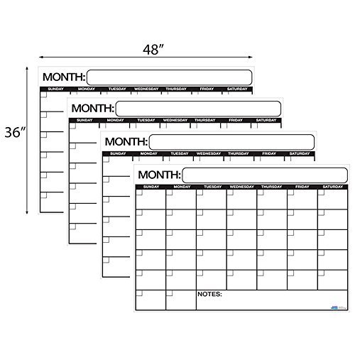 Best Jumbo Laminated Dry or Wet Erase Wall Calendar 36 x 48 inches. Large Daily squares to plan your whole day. Perfect for Office, College, Home, and Schools. FREE 1yr Warranty Made in USA by Business Basics