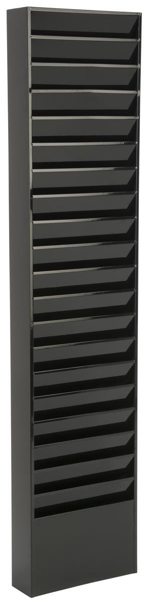 Displays2go File Folder Wall Rack, 20 Pockets, Tiered, Office & Medical Charts, Black Steel (JMFF20BLK)