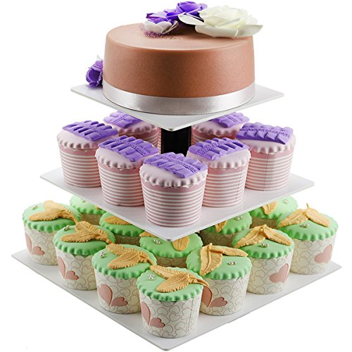 DYCacrlic 3 Tier Wedding White Cake Stand - Cupcake Tree - Square Cupcake Stands White 24 Cupcake Tower Display Holders - Pastry Stand For Birthday Party Baby Shower 1st day(Limited Time Deal) (Box Anchor Collapsible)
