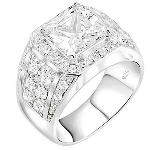 (Sterling Silver .925 High Polish Ring with Large White Princess Cut Center Stone Surrounded by 32 Cubic Zirconia (CZ) Stones)