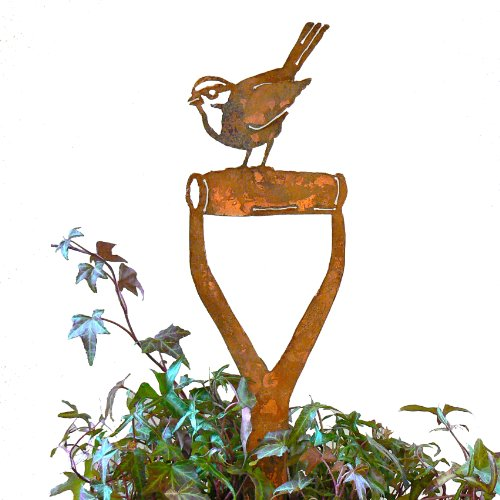 Elegant Garden Design Sparrow Shovel Handle, Steel Silhouette with Rusty Patina