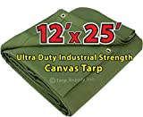 Ultra Duty 12'x 25' Finished Size Industrial Strength Green Polyester Canvas Tarp with Brass Grommets Approx Every 2 Feet All Round