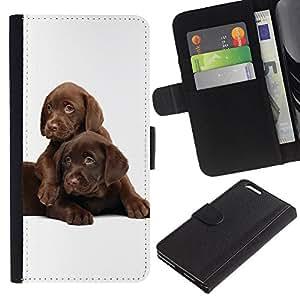 Chocolate Retriever Labrador Puppies - la tarjeta de Crédito Slots PU Funda de cuero Monedero caso cubierta de piel Apple (5.5 inches!!!) iPhone 6+ Plus / 6S+ Plus