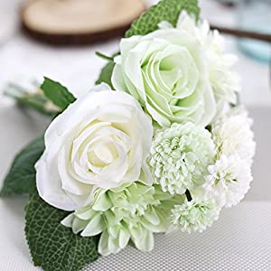 Meiliy 1 Bunch 8 Pcs Artificial Rose Dahlia Daisy Flower Bouquet Bride Bridesmaid Holding Flowers for Home Hotel Office Wedding Party Garden Craft Art Decor, White&Green 28