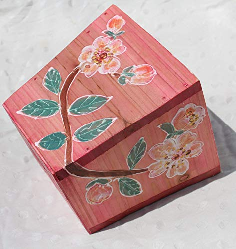WOOD,Hand Painted Pot with Acrylic Cherry Blossom,Wooden Hanging,Pots made of Wood,Cherry Wooden Planter,Pink Sakura in Pot,Miniature Wall Art,Wedding Decoration. ()