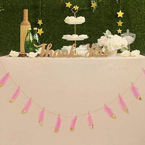 Paper Flag - 2m Gold Glitter Feather Birthday Wedding Party Decorations Dessert Table Ornaments Banner Buntings - Party Decorations Party Decorations Sparkly Nail Feather Garland Wedding Or