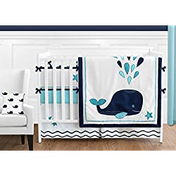 Turquoise, Navy Blue and White Whale Nautical Ocean Baby Boys or Girls 9 Piece Crib Bedding Set With Bumper