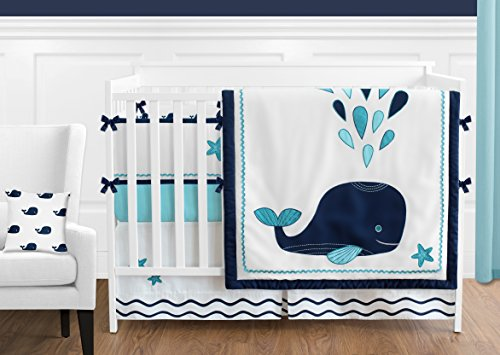 Navy Whale (Sweet Jojo Designs 9-Piece Turquoise, Navy Blue and White Whale Nautical Ocean Baby Boys or Girls Crib Bedding Set With Bumper)