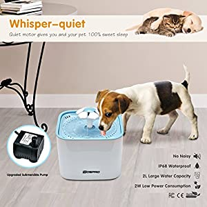 Pet Fountain Cat Water Dispenser - Healthy and Hygienic Drinking Fountain 2L Super Quiet Flower Automatic Electric Water Bowl with 2 Replacement Filters for Dogs, Cats, Birds and Small Animals Blue