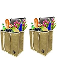 Earthwise Large Jute Insulated Shopping Grocery Bags w ZIPPER TOP LID Thermal Cooler Tote KEEPS FOOD HOT OR COLD (Set of 2)