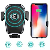 HOTSMILE Car Charger Wireless Car Charger Mount Pad Phone Holder with Safe Quick Charge 3.0 Fast Charge 360 Degree Rotation Compatible For iPhone X/8/8 Plus Samsung Galaxy S9/S9+/S8/S8 Plus/Note 8/S7