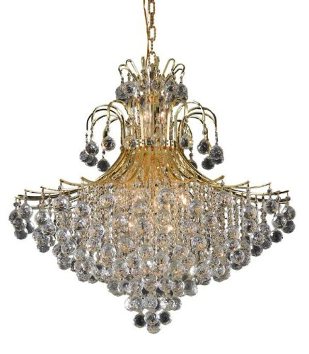 Elegant Lighting 8005G31G/RC Toureg 35-Inch High 15-Light Chandelier, Gold Finish with Crystal (Clear) Royal Cut RC - Crystal Lamp Strass Chandelier