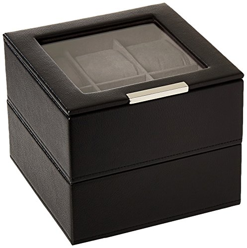 (WOLF 319603 Stackable Set of 2 - 6 Piece Watch Trays, Black )