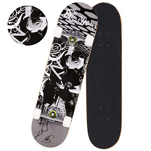 Anfan 31' Pro Complete Skateboard, Adult Tricks Skate Board with 9 Layer Canadian Maple Wood, Double Kick Tail for Beginner Kids Boys Girls 5 Up Years Old (US Stock) (Black Pose)