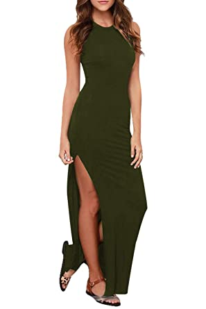 5ad153a8dc Meenew Women s Summer Holiday Sexy Bodycon Cut Out High Split Dress Green S