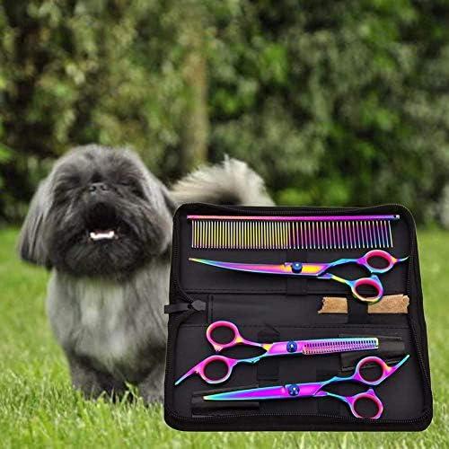 Tijeras para Mascotas, Sendowtek 6 Kit de Tijeras para Mascotas Profesionales de Acero Inoxidable para Gatos y Perros, Kit de Peluquería Canina para Perros o Gatos, Apto para Todo Cuerpo 9