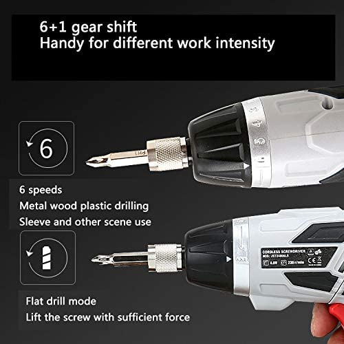 Multifunction Cordless Drill Driver, Rechargeable Electric Hand Drill Positive and Negative Electric Screwdriver Set with Flashlight