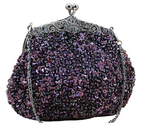 Chicastic Fully Sequined Mesh Beaded Antique Style Formal Cocktail Clutch - Purple (Clutch Mesh Sequin)