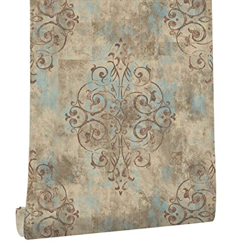 33' Victorian Tool - HaokHome 79603 Vintage French Damask Wallpaper Deep Yellow/Mist Blue/Brown for Home Bathroom Kitchen Accent Wall 20.8