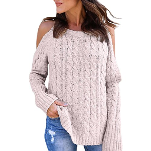 Women Tops, Gillberry Women Newest Cold Shoulder Soild Color Knitted Long Sleeve Pullovers Sweaters (Pink, L)