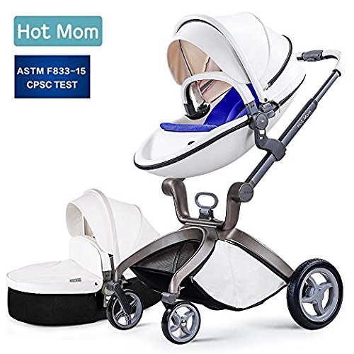 Baby Stroller 2018, Hot Mom 3 in 1 travel system Baby Carriage with Bassinet Combo,White,Baby Bid Gift