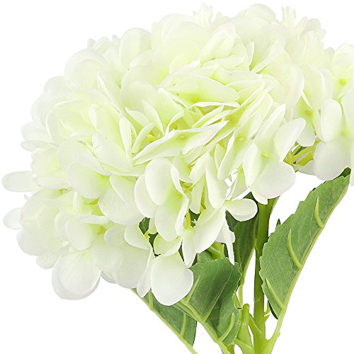 CEWOR 3pcs Artificial Hydrangea Flowers with 2pcs Fake Leaves Fake Silk Flowers for Home Wedding Garden Party Decor, (White) by CEWOR (Image #2)
