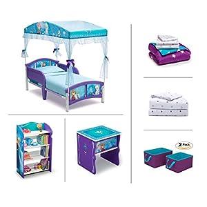Delta Children 6 Piece Character Toddler Room Furniture Set (Toddler Bed   Bookcase   Side Table   Bedding Set   Storage Bins   Bonus Sheet Set)