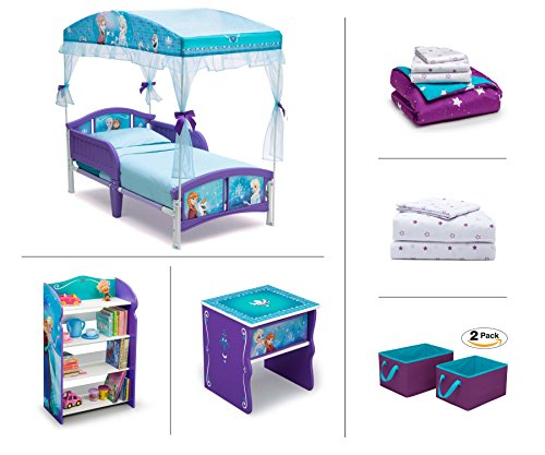 Disney Frozen Toddler Room Set, 6-Piece (Canopy Toddler Bed | Bookcase | Side Table | Bedding Set | Storage Bins | Bonus Sheet Set)