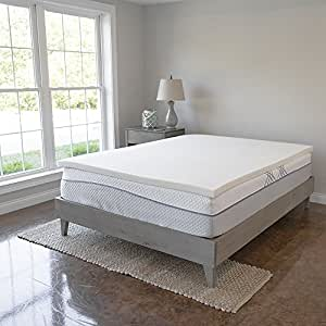 Memory Foam Mattress Topper - 2 Inches of 100% Real Visco Elastic Foam | 3 lb density for High Support and High Response | Made in USA | CertiPUR-US Certified, Queen
