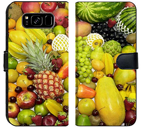- Samsung Galaxy S8 Plus Flip Fabric Wallet Case Image of Fruit Food Orange Grape Fresh Healthy Vitamin Pineapple Diet Nutrition Citrus Group heap Background trop